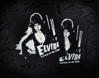 Elvira Goth Punk Horror Patch - Black, White