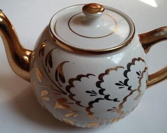 Ellgreave Cream and Gold Teapot