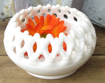 Doric Lace Milk Glass Crimped Bowl/Westmoreland Milk Glass Candy Bowl/Lace Edge Milk Glass Bowl/ Milk Glass Rose Bowl