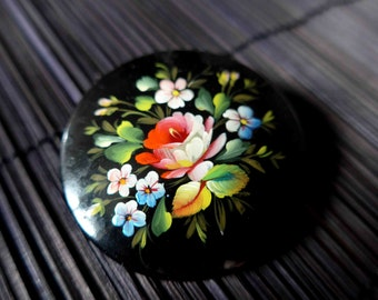 Fabulous 1970's Painted Brooch, Flowers on Black, Folk Russian Style, French Vintage