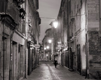France Photography - Street Scene at Night, French decor, Warm Black and White, Architectural Fine Art Photograph, Urban Home Decor