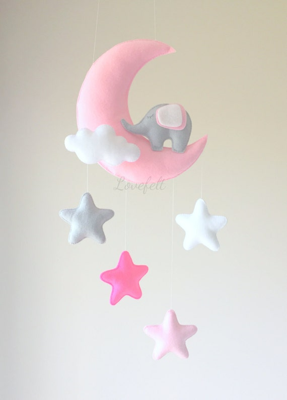 baby mobile baby mobile elephant moon by giseleblakerdesigns. Black Bedroom Furniture Sets. Home Design Ideas