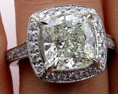 GIA 4.30ct Estate Vintage CUSHION Diamond Solitaire Pave Halo Platinum Ring