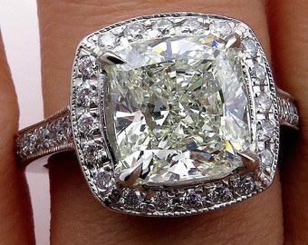 GIA 4.30ct Estate Vintage CUSHION Diamond Solitaire Pave Halo Platinum Ring