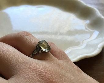 Vintage Sterling Silver Glass Faceted Victorian Edwardian Art Nouveau Ring DESTASH AS IS