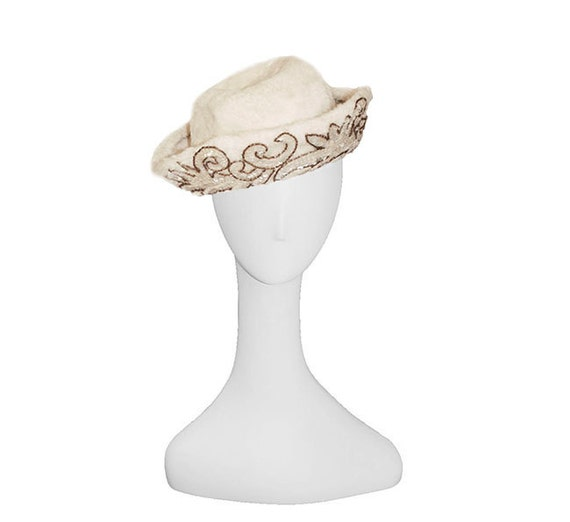 1950s Cocktail Hat, Off White Art Deco Design by Marche