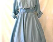 Vtg American Shirt Dress '80s Does '50s Baby Blue Full Circle Skirt Rockabillly Housewife Full Figure Dress Size XL 15 / 16