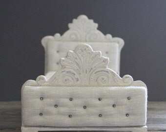 """Style D~ Wooden and Tufted Linen bed for Blythe, Monster High, and other 10-12"""" sized dolls"""