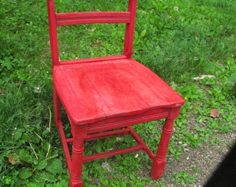 Old Maple Tavern Chair Painted Tricycle Red. Milk Paint. Antique Chair. Painted Chair