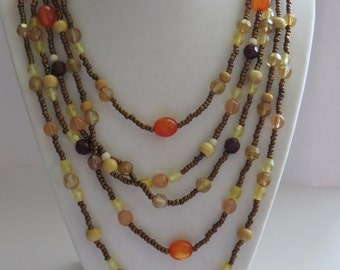 Vintage Beaded Five Strands Earth Tone Necklace Summer Trend