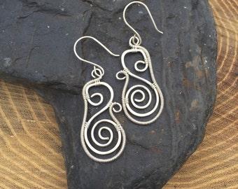 Wire Wrap - Wire Wrap Earrings - Sterling Earrings - Silver Spiral Earrings - Sterling Silver Earrings - Wire Wrap Spirals - Spiral Earrings