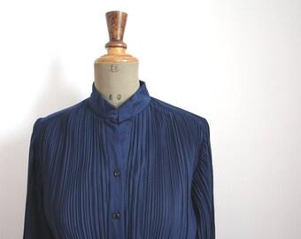 1970s dress // Navy blue crystal pleated dress