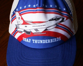 Vintage Red White Blue USAF Thunderbirds Snap Back Mesh Trucker Cap Well Loved Patriotic Military Aviation Fly Boys Hat
