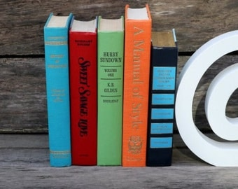 Set of 5 Vintage Books - Antique Book Decor - Photo Props - Gag Gift - Centerpieces - Colorful Set - Orange Blue Red Green