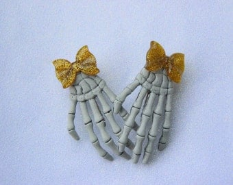 Skeleton Hand Clips with Glittery Gold Bows