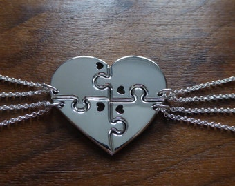 Four Piece Heart Best Friend Pendant Necklaces with Hearts (Thick Version)