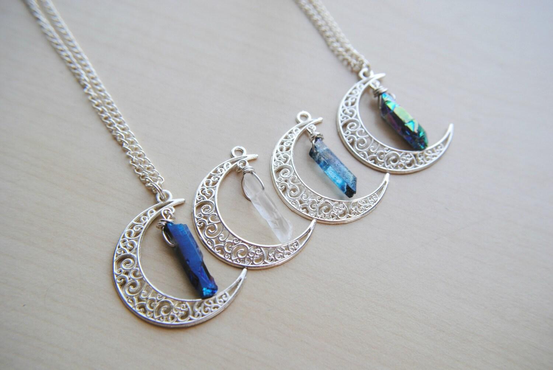 crystal moonchild necklace clear quartz aqua quartz. Black Bedroom Furniture Sets. Home Design Ideas