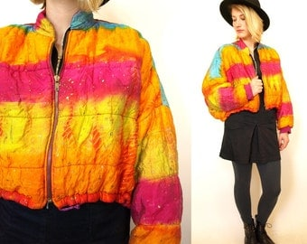Vintage cropped 80s 90s neon colorful womens puffy jacket fits all sizes S M L rave club kid small medium large