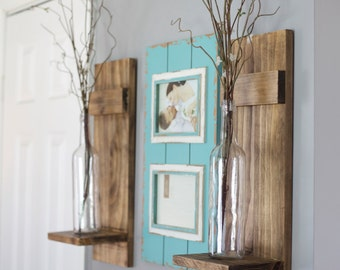 Rustic Farmhouse Wall Sconces : Wood candle holder Etsy