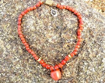Faceted Antique Coral beads bracelet, carved apple vintage coral,