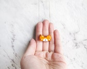 Pumpkin Ginger - Cat Polymer Clay Acrylic Hand Painted Customized Gold Fill Necklace *Support Local Adoption*