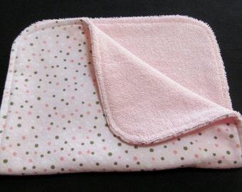Pink Polka Dot Burp Cloth, Baby Burp Cloth, Pink Terry Cloth, Flannel Burp Cloth