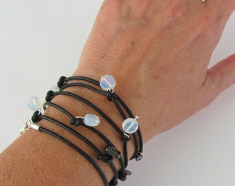 Black Wrap Bracelet, Stacking Bracelet, Leather Bead Bracelet, Multistrand Bracelet, Gift Women