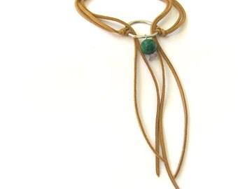 Wrap Tie Necklace, Double Wrap Choker, Wrap Cord Necklace, Leather Bolo Tie, Bolo Necklace, Green Stone Necklace,Suede Boho Choker