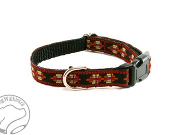 "Little Aztec Warrior - Thin Dog Collar - 1/2"" (13mm) Wide - Small Martingale Dog Collar or Side Release - your choice of style and size"