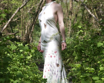 Butterfly Meadow Handpainted Silk Backless Wedding Dress