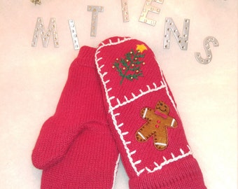 Ugly Christmas Recycled, Repurposed, Upcycled Wool or Cotton Sweater Mittens