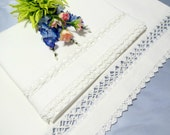 White Vintage Pillowcases, Vintage White Work, Victorian  Bedding, Drawn Thread Work Inserts, Vintage Linens by TheSweetBasilShoppe