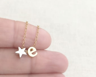 Star Initial Necklace, Gold Initial Necklace, Personalized Necklace, Name Necklace, Letter Necklace, Silver Star Necklace,