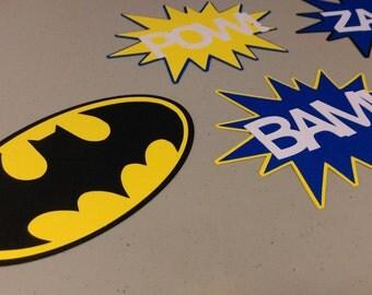 Batman Centerpiece, Pow, Zap, Bam Batman Centerpiece for Birthday Party, Baby Shower, Centerpiece