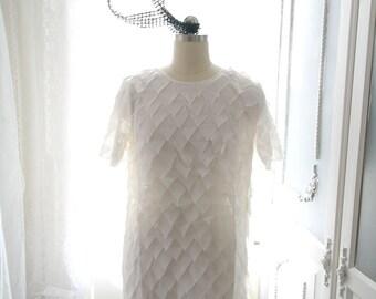 Boho Bohemian Gypsy Downton Abbey Flapper Dress Design petal  Fabric Dress White Lace Dress Sleeves Romantic Angel
