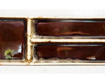 Brown Drip Condiment Tray 3 Parts Pfaltzgraff Gourmet Line