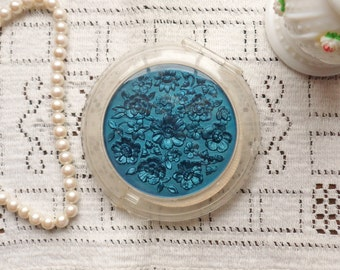 Mavco Powder Compact, Blue Floral Lucite Compact with Protective Cloth Sleeve 1946