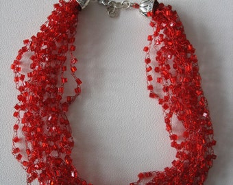 Red multi-strand necklace