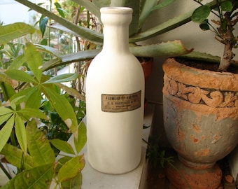 Vintage painted clay ceramic bottle with old style flowers of sulphur apothecary label 10'' h.