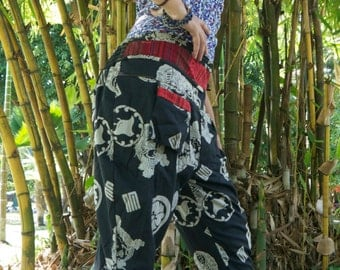 Thai  Tribe Pants, Cotton, Akha / Hmong Style in Shades of Black and White w Red details