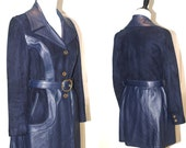 Vintage 1970's Women's New England Sportswear Leather and Suede Belted Jacket Navy Blue Coat  Size Small