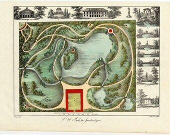 Garden Plan. 1828 French Garden Design by Gabriel Thouin. Garden Plans Raisonnes de Toutes les Especes de Jardins  Decorative Garden Print