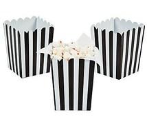 Black Stripe ~ Mini ~ Popcorn boxes ~ set of 6