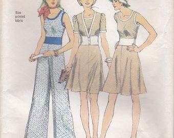 70s Sleeveless Top, Skirt, Wide Leg Pants & Jacket Pattern Simplicity 6330 Size 12