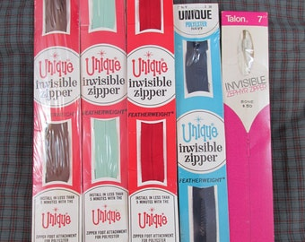 """Lot of 5 """"Invisible"""" Zippers NIP"""