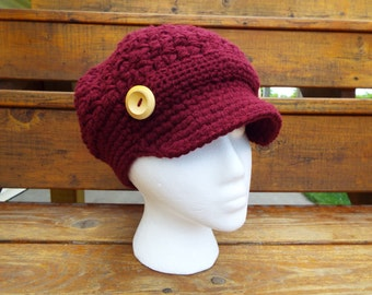 Newsboy Hat, Crochet Newsboy Hat, Knit newsboy cap,  Womens Hat, burgundy, wine, button, maryjane
