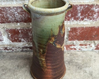 Tall Wood Fired Vase with Glaze Drips - Natural Ash Glaze - Stoneware - Ceramic - Pottery - Decor - Handmade - Wheel Thrown - Made in DC