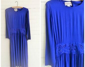 Vintage purple boho midi dress size medium / large