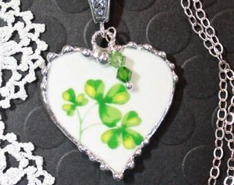 Necklace, Broken China Jewelry, Broken China Necklace, Heart, Pendant, Shamrocks, St Patricks Day