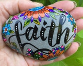 faith / painted rocks / painted stones / rock art / paperweights / cape cod / sea stones / desk art / altar art / rocks / beach art/ boho